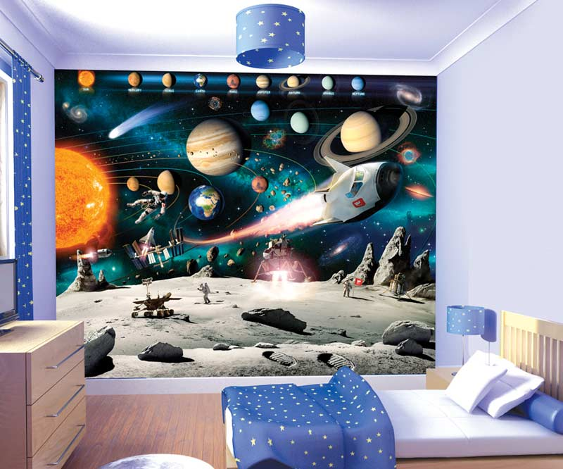 Space wall murals 2017 grasscloth wallpaper for Boys room wall mural